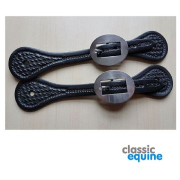 Spur Straps - Ladies with Basket Tooling (Black)
